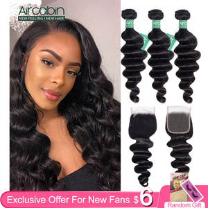 Aircabin Loose Deep Wave Bundles With Closure Brazilian 100% Remy Human Hair Weave Bundles With Swiss Lace Closure Can Be Dyed(China)