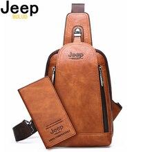 JEEP BULUO erkekler yüksek kaliteli büyük kapasiteli Split deri omuz tek kollu çanta iPad Crossbody çanta büyük boy günlük göğüs çantası yeni