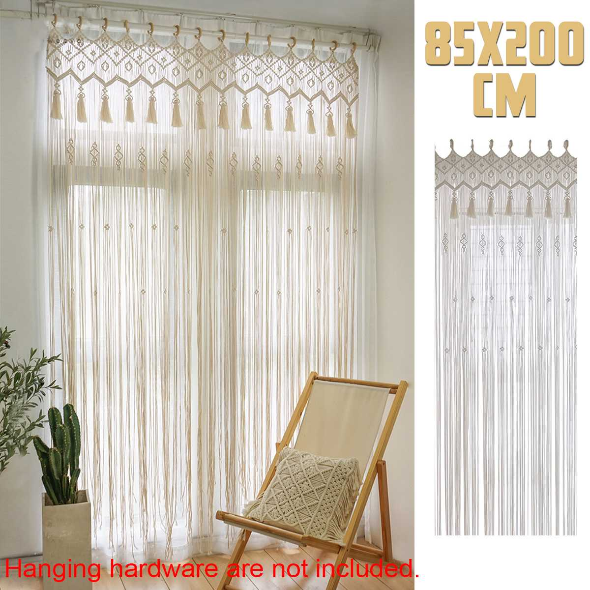 Bohemian Handmade Macrame Curtain Bohemian Wedding Backdrop 200x85cm Cotton Rope Photo Backdrop Home Room Wall Hanging Tapestry