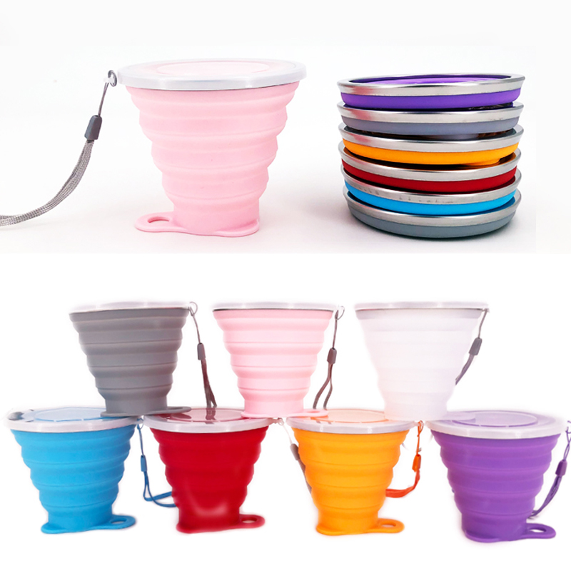 Folding-Cups Travel-Cup Stainless-Steel Collapsible Sport Silicone Outdoor 270ML Telescopic