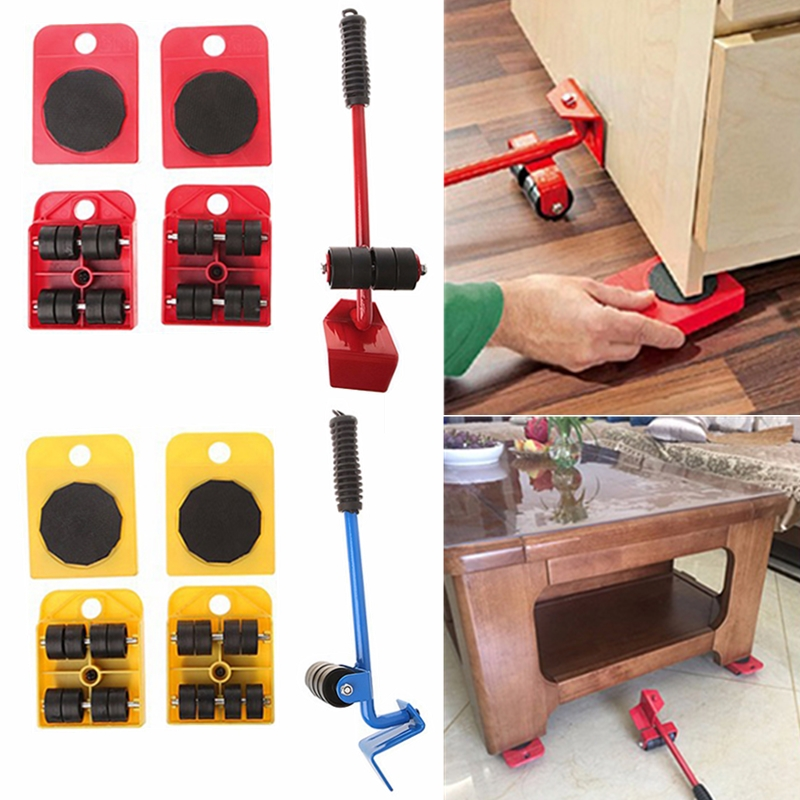5PCS/Set Furniture Lifter Heavy Professional Furniture Roller Move Tool Set Wheel Bar Mover Sliders Transporter Kit Trolley