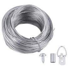 1 conjunto de corda de fio e foto quadro ganchos de suspensão kit cabides de imagem fotos conjunto de fio de suspensão (20m corda de fio + 20 conjuntos de anéis)
