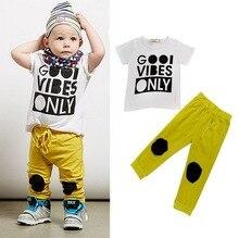 Summer new boys fashion English letter T-shirt+pants set