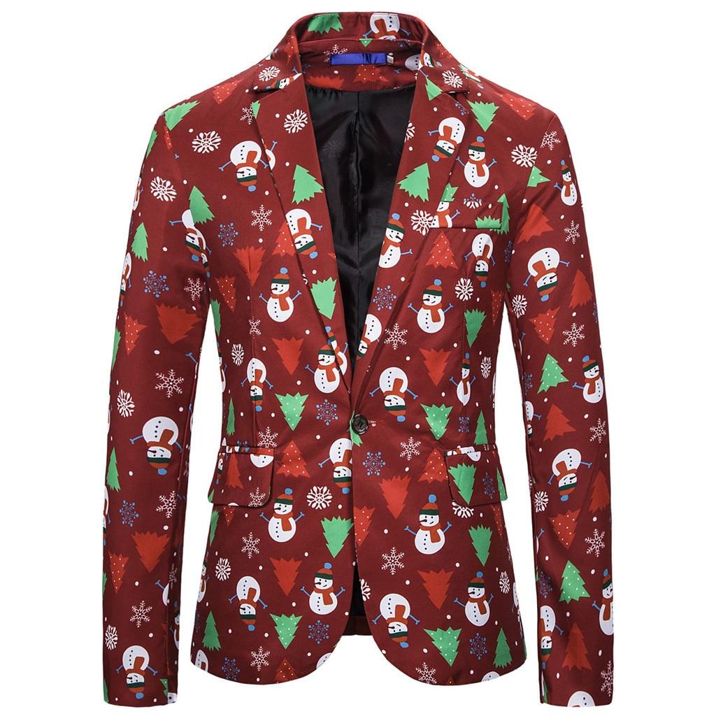 SAGACE Fashionable Men's Christmas Blazer Slim Fit  Stylish Party Banquet Cute Playful Single Buckle Long Sleeve Print Keep Warm
