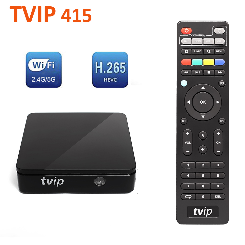 Smart TV Box TVIP 415 Linux Amlogic Quad Core 2.4G 5G Dual Band WiFi Support Stalker M3U IPTV Portal H.265 1080P HD Set Top Box image
