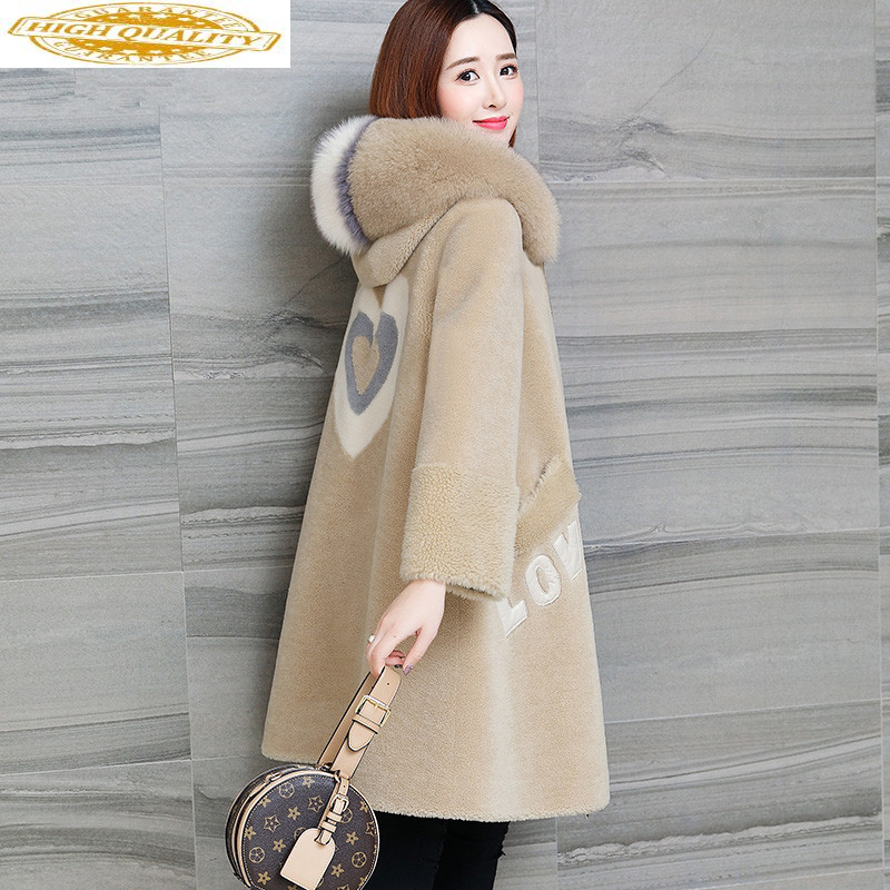 Real Sheep Shearling Fur Coat Female Fox Fur Korean Long Jackets Winter Jacket Women 100% Wool Coats Chaqueta Mujer MY