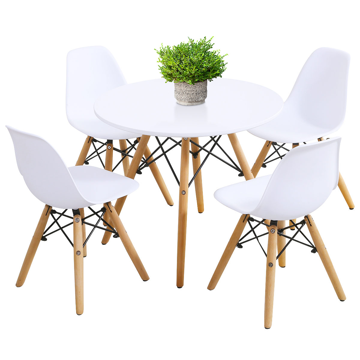 Children Table &Chair Set Simple Mid-Century Dining Play Table W/ 5Chairs Toddle