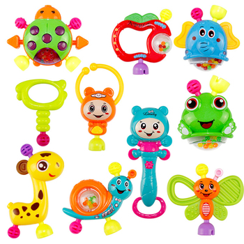 10PCS Baby Rotating Hand Rattle Music Teether Toy Early Education Rattle Teether Children'S Educational Toys 1