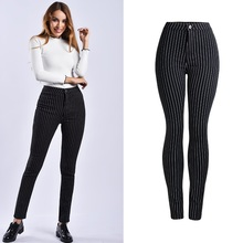 Striped Black Skinny Jeans Woman Spring and Autumn Mom Jeans Casual High Waist Stripe  Pencil Pants Women недорого