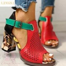 Sandalias de verano para mujer, zapatos de tacón alto grueso a la moda, con punta abierta, cubierta informal, con hebilla, novedad de talla grande 43, 2021