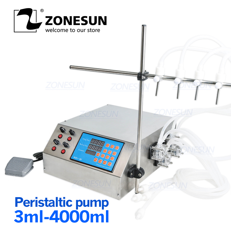 ZONESUN 4 Heads Peristaltic Pump Filler Semi-auto Liquid Vial Desk-top Filling Machine For Juice Beverage Soy Sauce Oil Perfume