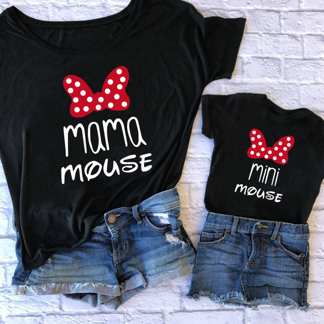 Family Tshirts Fashion mommy and me clothes baby girl clothes MINI and MAMA Fashion Cotton Family Look Boys Mom Mother Clothes 1