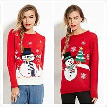 Goocheer 2019 New Women Winter Warm Christmas Jumper Sweater Snowflake Knitted Pullover Tops 3D Print Sweatshirt худи print bar christmas winter