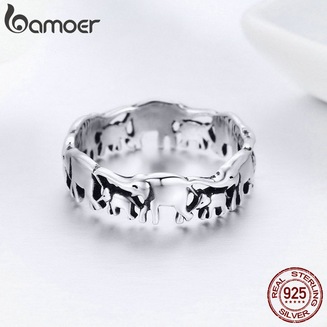 BAMOER 925 Sterling Silver Stackable Animal Collection Elephant Family Finger Rings for Women Jewelyr SCR344 4
