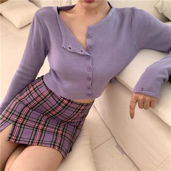 цена Cropped Cardigan Women 2020 Spring Summer Purple Cardigan Crop Top Korean Chic Knitted Cardigan Mujer онлайн в 2017 году
