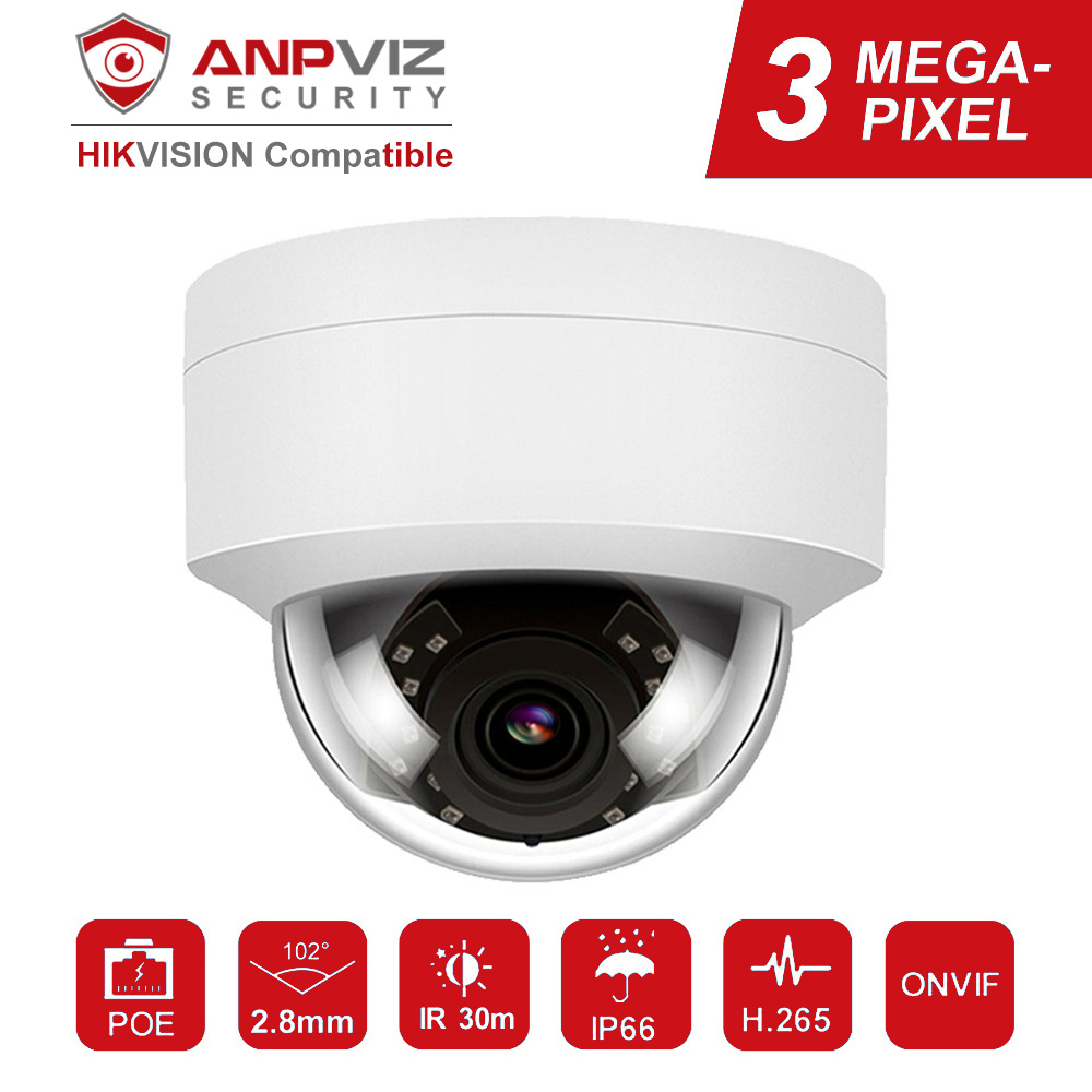 Hikvision Compatible Anpviz 3MP Dome IP Camera POE IPC-D230W Outdoor Waterproof IR 30m Security Video Surveillance Cameras