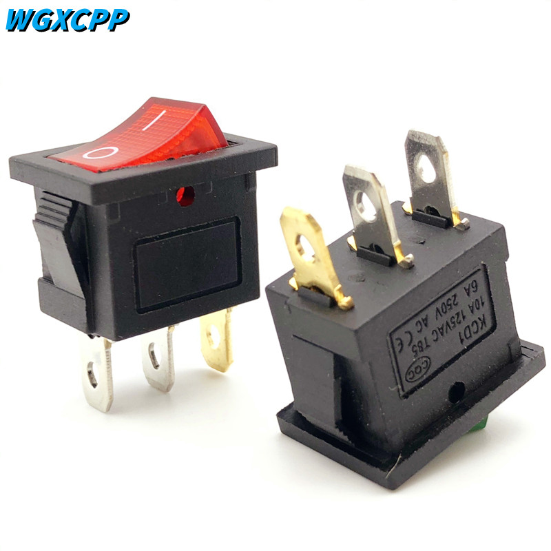 1/4 Pcs ON/OFF,Mini Rocker Switch KCD1,15*21mm,6A 250VAC/10A 125VAC,3Pin,2/3 Position,Electrical Equipment With Lighting Power