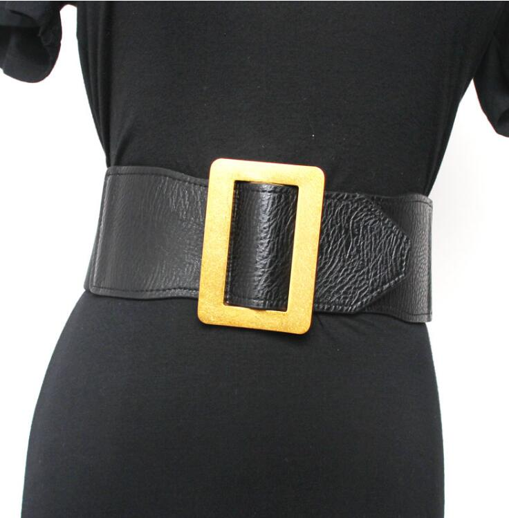 Women's Runway Fashion Pu Leather Elastic Cummerbunds Female Dress Coat Corsets Waistband Belts Decoration Wide Belt R2192