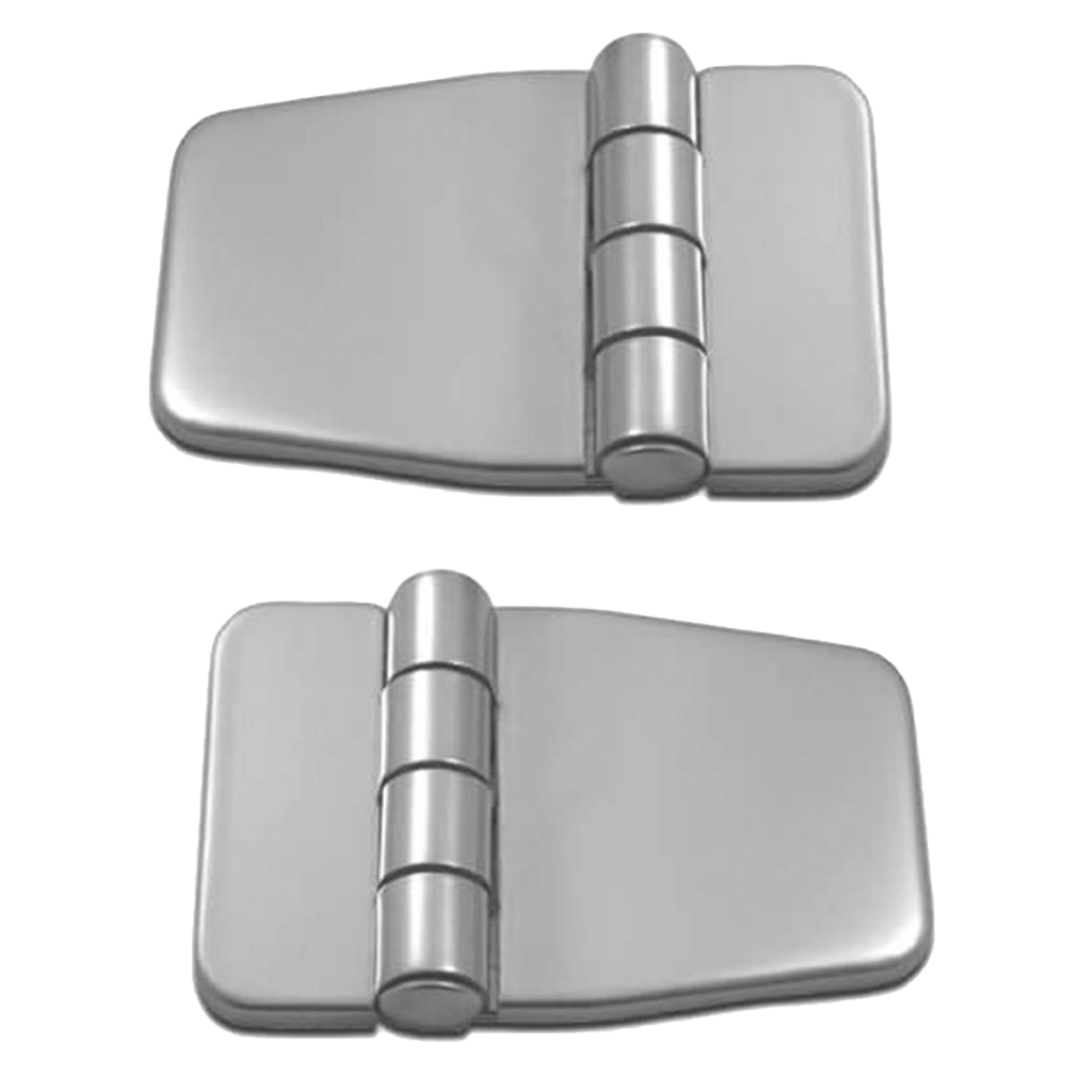 2x Stainless Steel Polished Cast Leaf Hatch Door Hinge Strap Hinges for Boat, RVs (with Cap) - Silver image