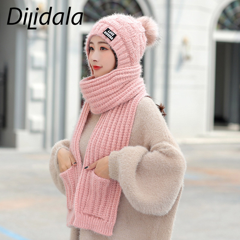 Dilidala 2019 New Women's Wool Hat Scarf Two-piece Plus Velvet Thick Windproof  Knitted Headgear Winter Hats For Women Elegant