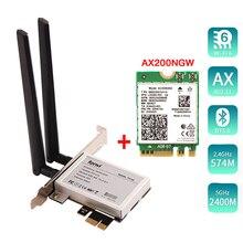 Masaüstü PCI E 1X kablosuz dönüştürücü 2400Mbps ağ kartı Intel AX200 için Bluetooth 5.0 pencere 10 dizüstü