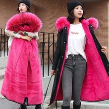 Abrigo de invierno de algodón para mujer, Chaqueta larga femenina, Parka, prendas de vestir de talla grande, chaquetas femeninas de cuello de piel grande con capucha, 2019