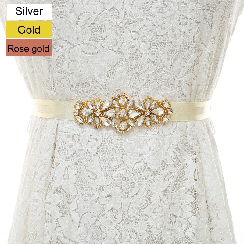 Handmade Small Crystal Bridal Belts for Wedding Dresses Silver,Gold, Rose gold