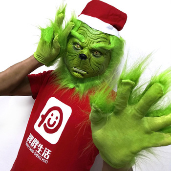 Funny Grinch Stole Christmas Latex Mask Gloves XMAS Costume Adult Party Mask Grinch Cosplay Carnival Face Masks