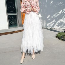 Женская плиссированная юбка из тюля с высокой талией и оборками; Осенняя новая Однотонная юбка-пачка; пляжные длинные юбки с эластичной резинкой на талии; бальное платье; юбка
