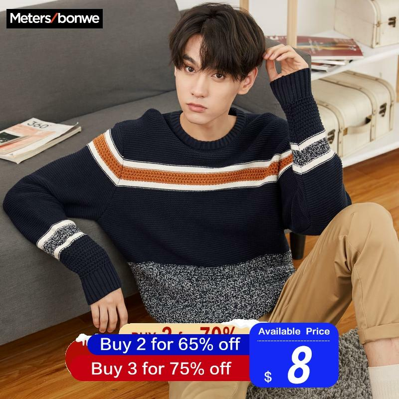 Metersbonwe Cotton Sweater Men 2019 Autumn Fashion Long Sleeve Knitted Panelled Color Men Cotton Sweater High Quality Clothes|Pullovers| |  - title=