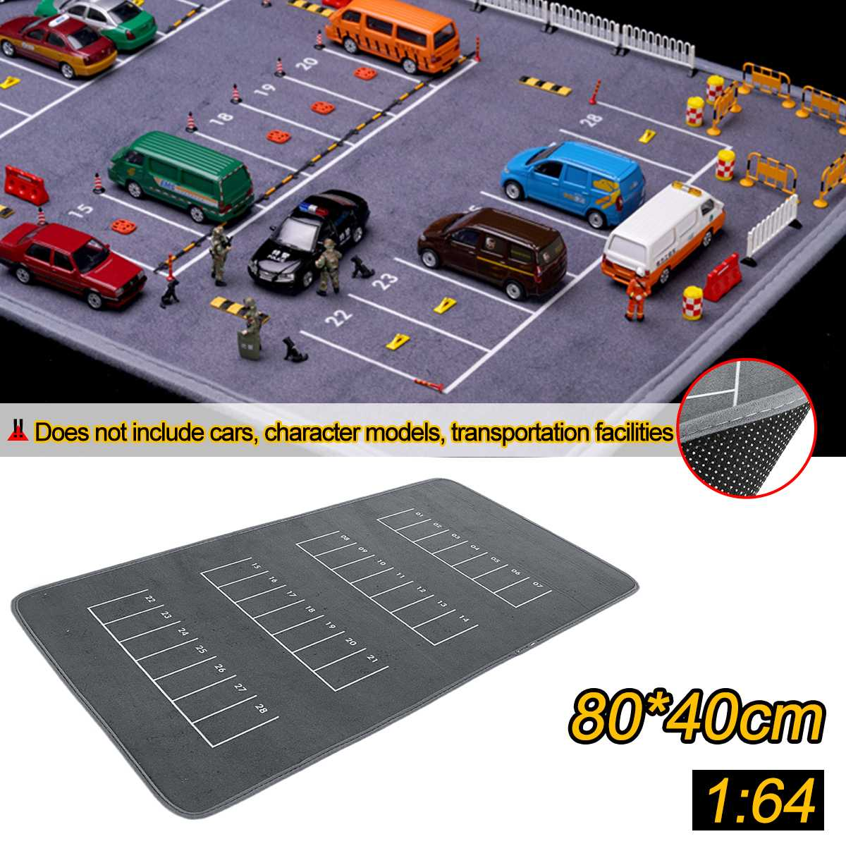 80x40cm 1/64 Anti-slip Rubbe Parking Pad Car Model Scene Road Game Pad For Desktop PC Laptop Computer Model Car