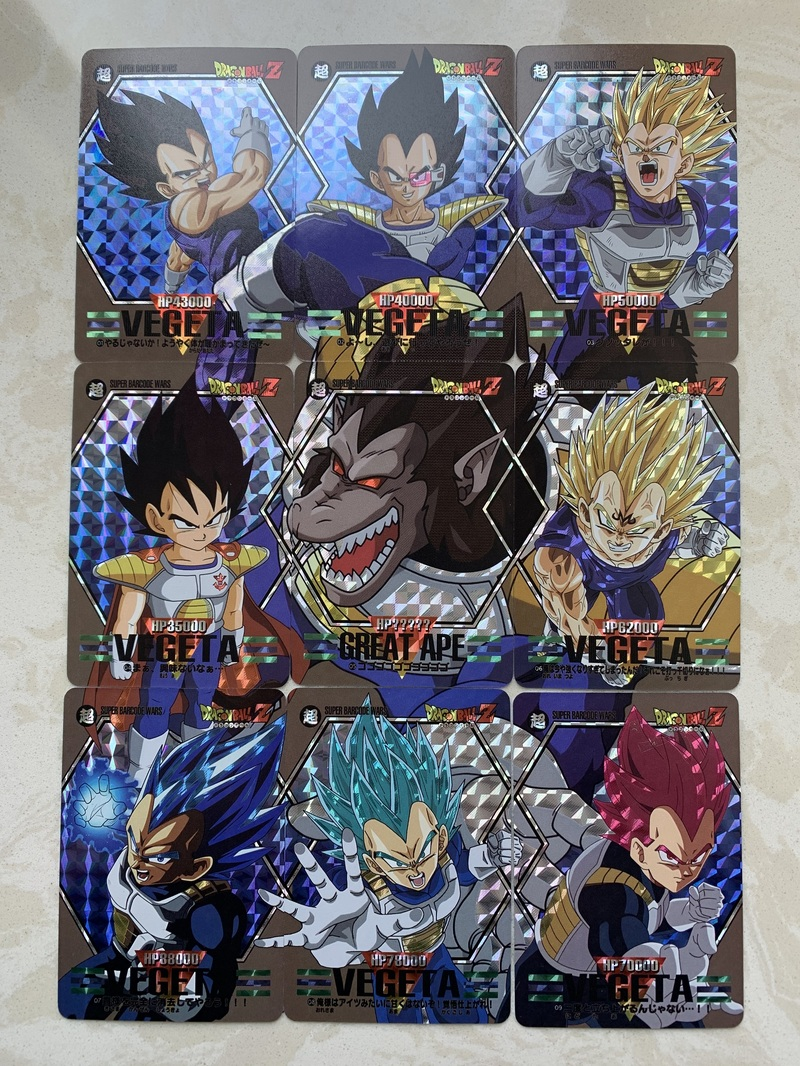 9pcs/set Dragon Ball Z Fighting Copy 9 In 1 Super Saiyan Goku Vegeta Game Figures Commemorative Edition Collection Cards