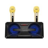 Portable Double Speaker Wireless Microphone Live Stream Karaoke Set Karaoke Players Home Audio & Video Black