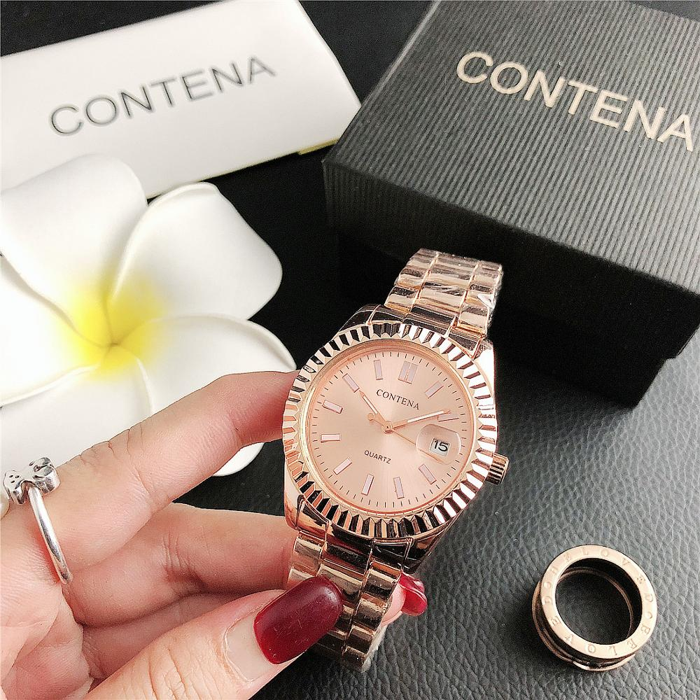 6064M     CONTENA Calendar Simple Casual Small Strap Women's Watch Wholesale