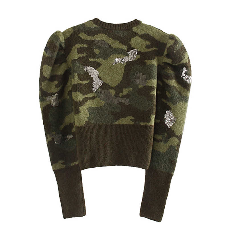 ZOEPO O Neck Camouflage Sweaters Women Fashion Sequined Short Slim Sweater Women Elegant Long Sleeve Sweaters Female Ladies KD
