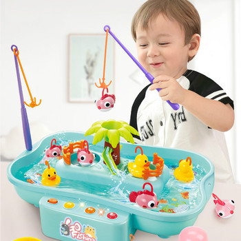 Kids Fishing Toys Electric Water Cycle Music Light Baby Bath Toys Child Game Play Fish Outdoor Toys Fishing Games For Children shark bite game funny toys desktop fishing toys kids family interactive toys board game