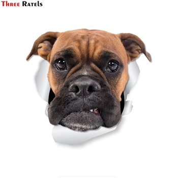 Three Ratels 1065 Grumpy Boxer Dog Wall Decals Toilet Sticker 3D Dog Car Window and Bumper Sticker decal image