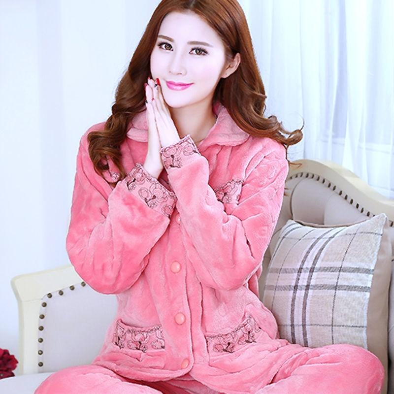 Sleepwear Women Set Winter Flannel Warm Solid Pijamas Women Thick Coral Fleece Pyjamas Woman Plus Size Long Pajamas For Female 3