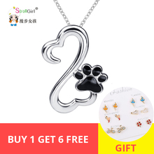 StrollGirl 100% 925 Sterling Silver Pendant Necklace  Fashion Jewelry Chain Cat & Dog Paw Necklaces For Women Birthday Gift Hot edell 100% 925 sterling silver bar pendant necklaces for men women genuine ribbon tiff necklace fashion jewelry gift