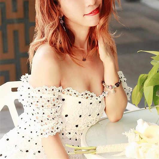 Marfil guipur Lace Frill Maxi vestido puff Floral Plumetis Panel de ojales vestido largo elástico 2-way cuello alto-Cintura vestido texturizado