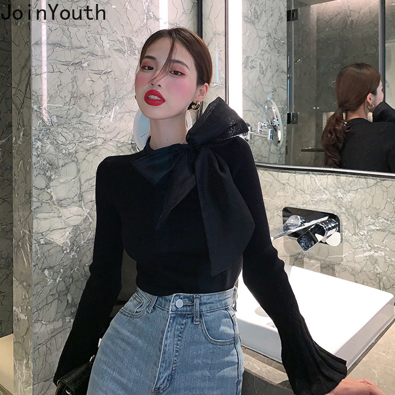 Joinyouth Sweater Women Korean Bow Collar Pullovers Flare Sleeve Solid Knit Wild Female Sweaters Autumn Winter 2019 Clothes 109
