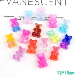 Bear Charms Resin Cabochons Glitter Gummy Candy Transparent Color Necklace Keychain Pendant DIY Making Accessories