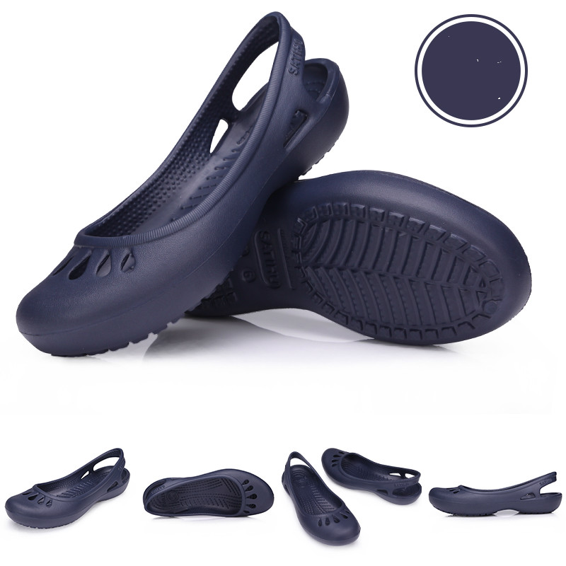 women Clogs Jelly Sandals Home Non-slip Summer Hole Shoes Female Flat slippers Plastic Female Girls Waterproof EVA  Garden Shoes 5