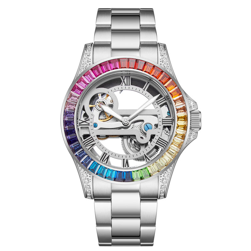 2020 New Limited Edition Couple Mechanical Watches Men Women Automatic Mechanical Watch Color Diamond Hollow Watch Waterproof