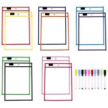 1Set/30Pcs Waterproof  File Folders Bill Folders Document Folders (10Pcs dry brush + 10Pcs pen + 10Pcs pen holder)