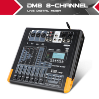 XTUGA Digital Mini 8 Channel Mixer Bluetooth With Effect USB Live Sound Card MP3 10 Background Sounds Effect