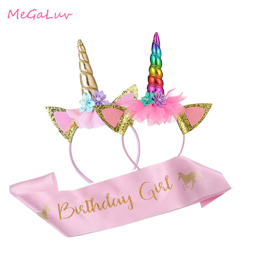 Unicórnio festa de aniversário suprimentos conjunto unicórnio menina ouro bandana rosa cetim faixa látex balões feliz aniversário festa favor