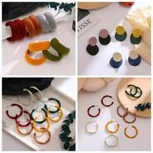 Женские серьги кольца zovoli круглые из красного бархата в Корейском