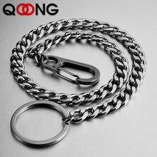 QOONG Hip Hop Fashion Key Chains 40cm Long Metal Big Ring Rock Punk Clip Jewelry Pants KeyChain Wallet Chain