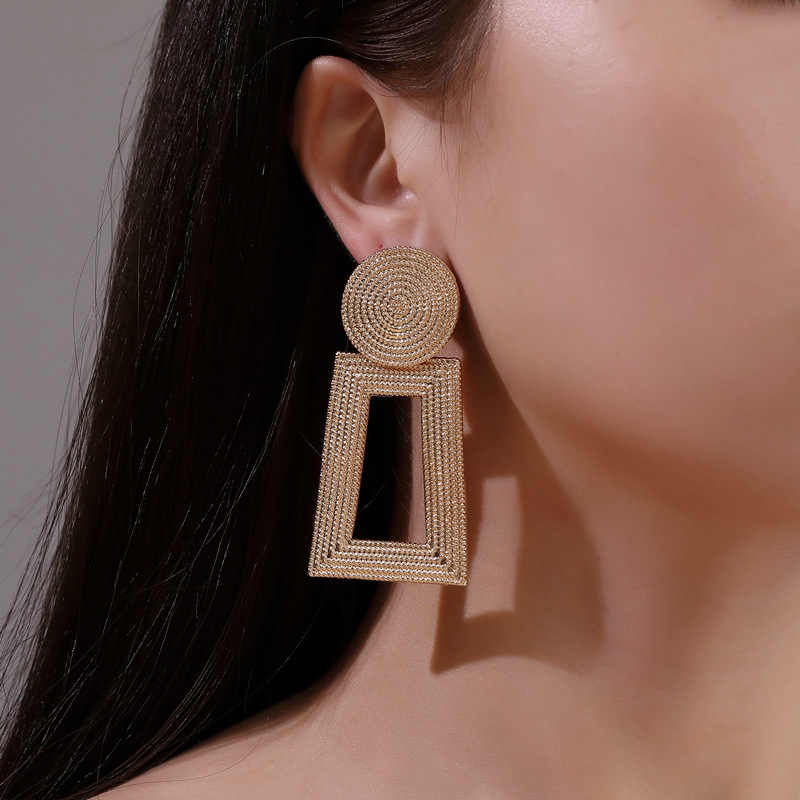 Ufavoirte Fashion Statement Earrings for Women Big gold silver black Geometric Metal Earring Women's Hanging Earrings